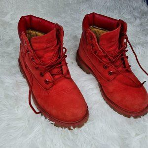 Red Timberland Boots for kids- US 13